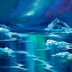 Deep Blue Frost by Philip Gray - Original Painting on Box Canvas sized 28x28 inches. Available from Whitewall Galleries